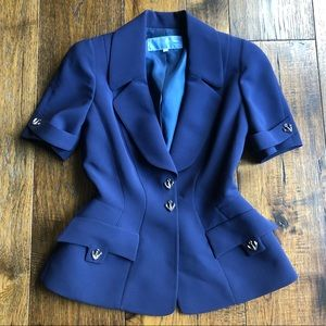 Thierry Mugler Navy Blue SS Snap front jacket